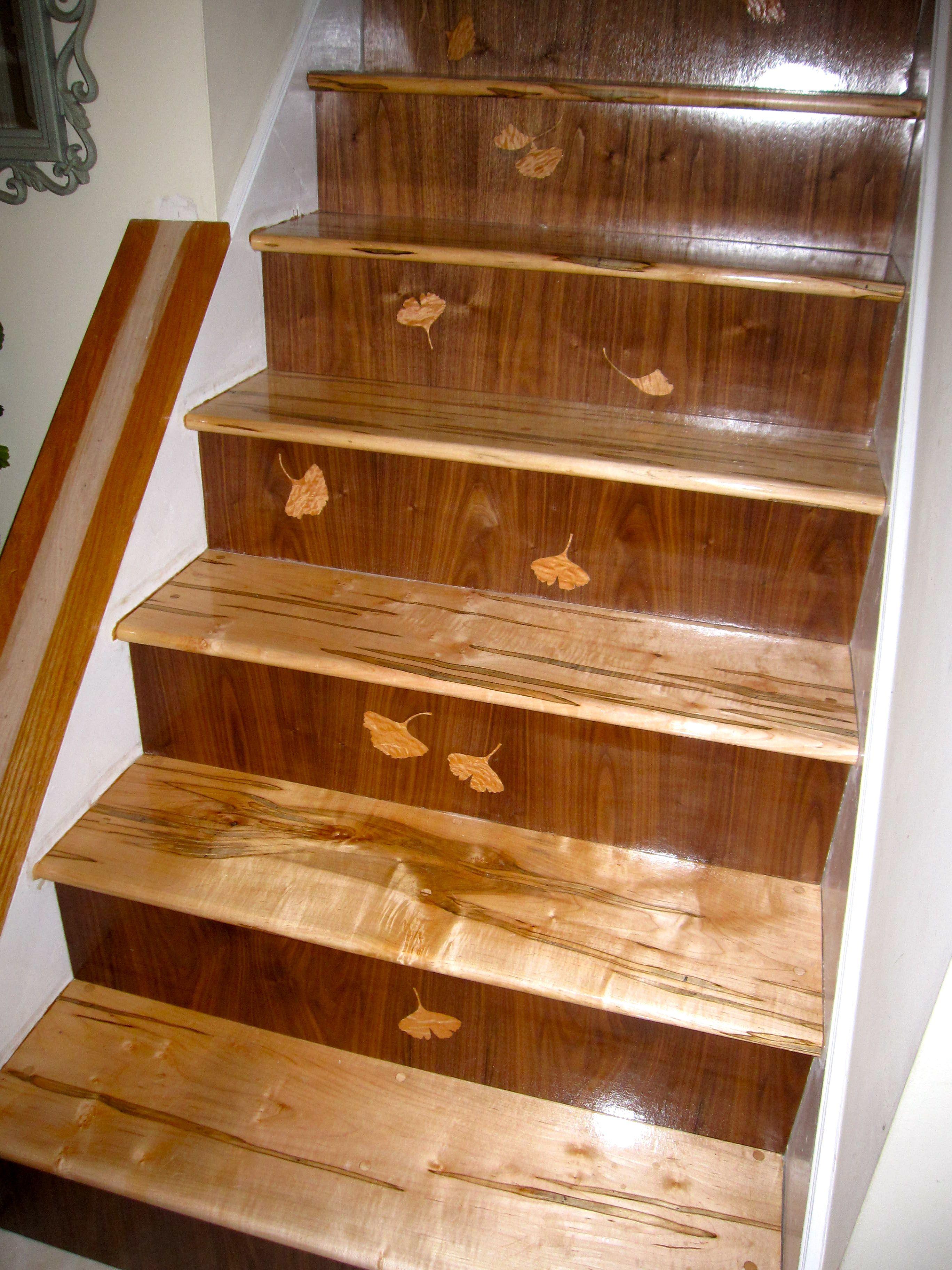 Best Custom Stairs Ambrosia Maple Treads Walnut Risers And 640 x 480