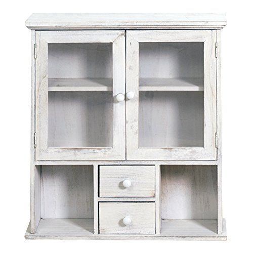 Rebecca Srl Shelves Wall Storage Unit 2 Drawers Door Wood Plexigl White Vintage Retro Kitchen