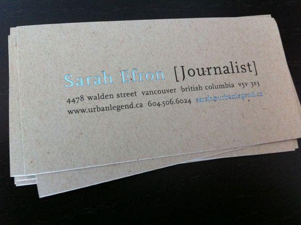 Luzform » Identity » Stationery » Sarah Efron (Journalist ...
