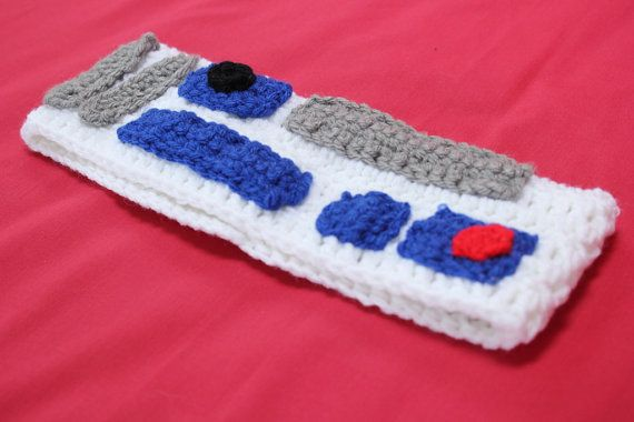 R2-D2 Inspired Crochet Earwarmer Headband, Star Wars inspired ...