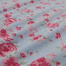 Floral Printed Cotton Fabric Blue Dressmaking Fabric Sewing Craft By The Yard