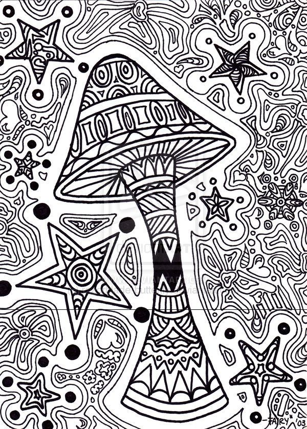 Trippy coloring pages printable star shroom by razorbla pinterest