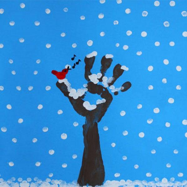 la peinture à doigts : l'arbre d'hiver | pour la classe