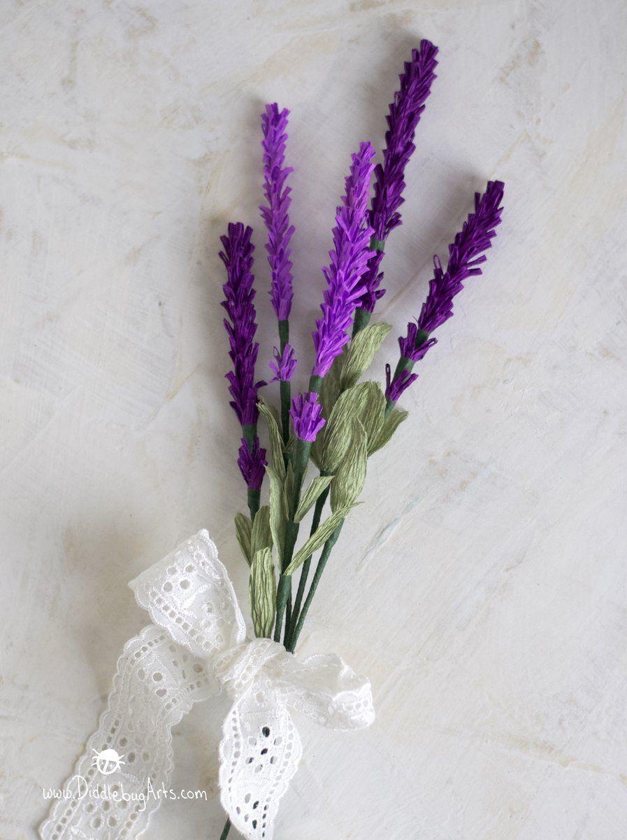 Paper Lavender Sprig Paper Lavender Lavender Paper Flowers Lavender Flowers Diy
