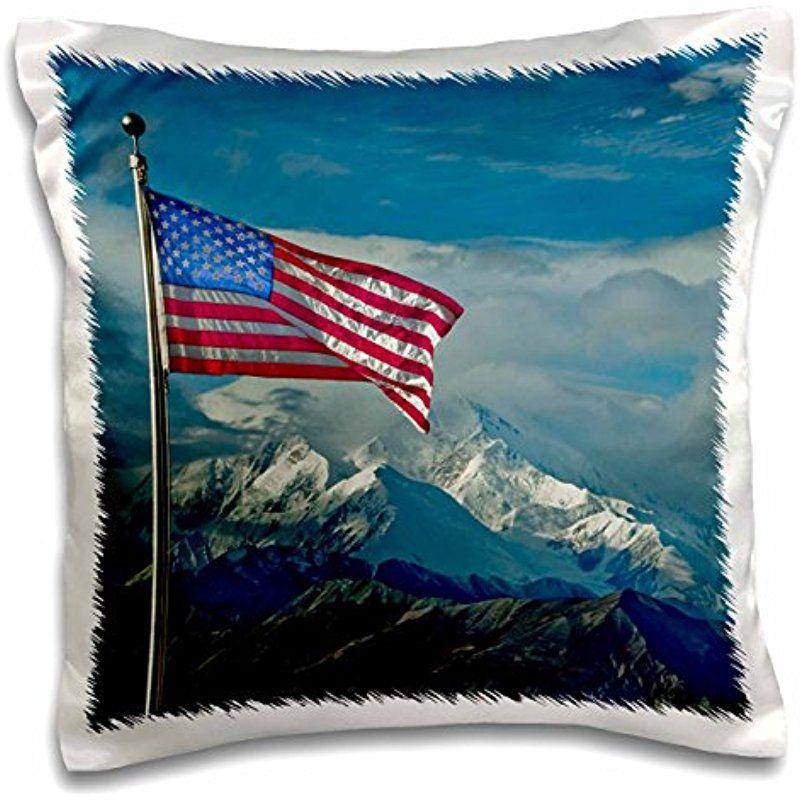 Danita Delimont Jerry Ginsberg Flags The American Flag Waves At Denali Mt Mckinley Alaska Usa 16x16 Inch American Flag Waving American Flag Pillows