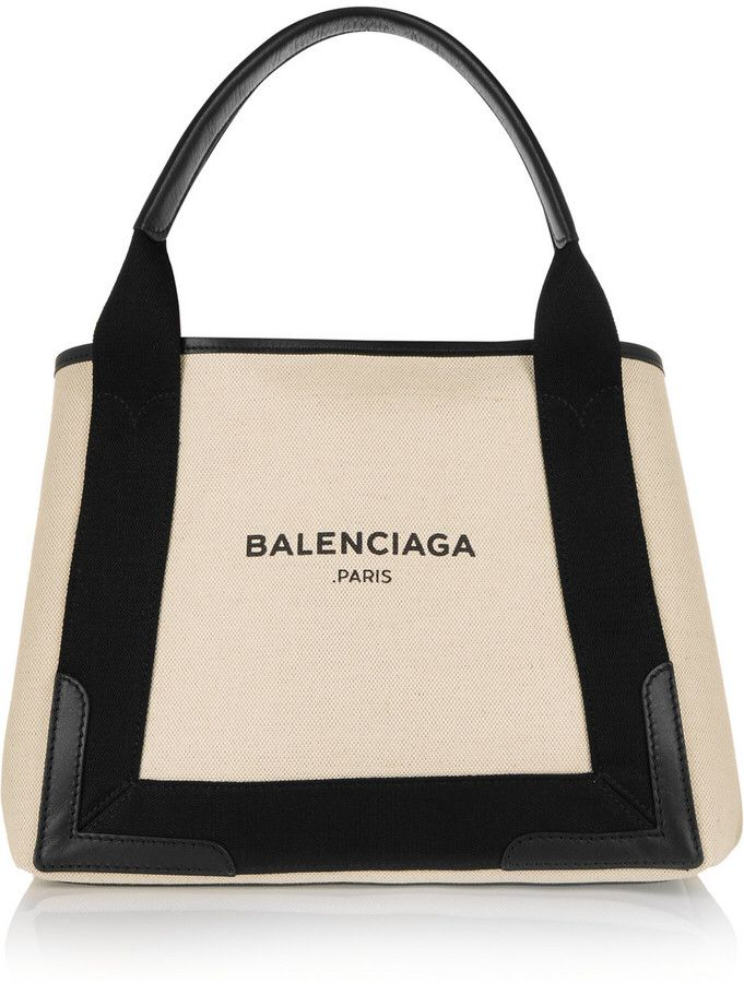 Balenciaga Cabas Leather-Trimmed Canvas Tote