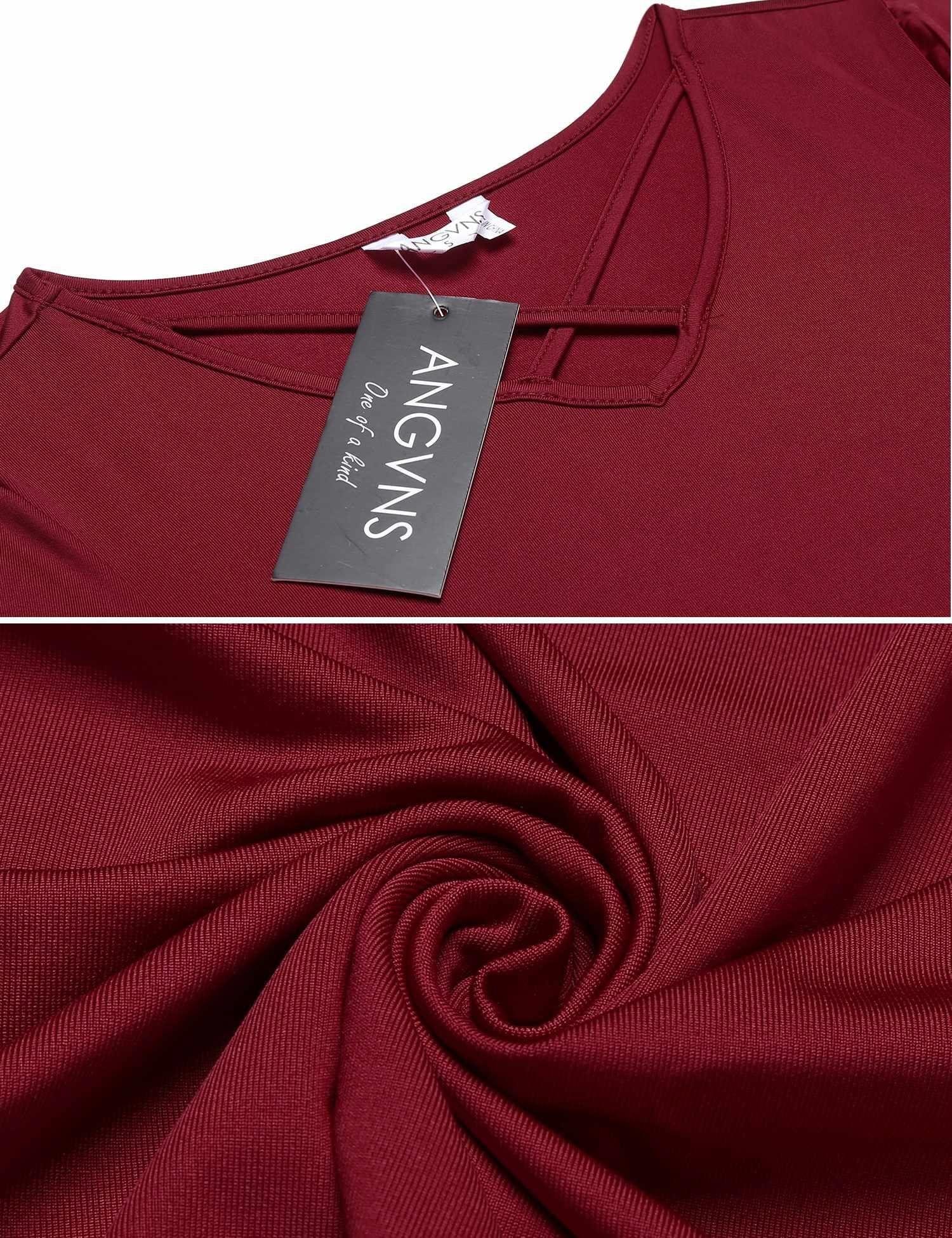 ANGVNS Womens Summer Cross Front V Neck Solid Dress Short Sleeve