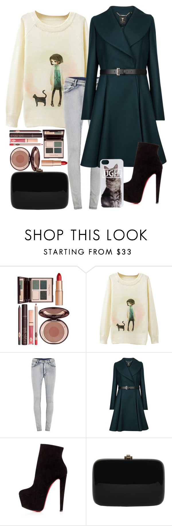 """""""cats"""" by naty2001 ❤ liked on Polyvore featuring Charlotte Tilbury, Cheap Monday, Ted Baker, Christian Louboutin and Rocio"""