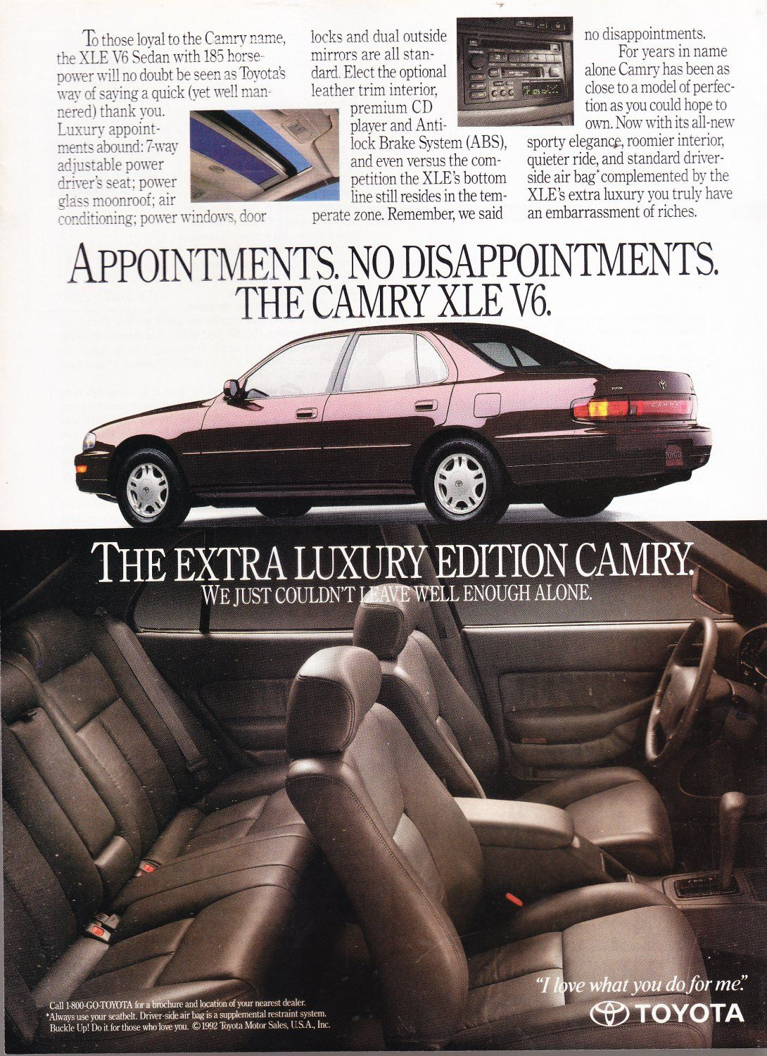 Toyota Camry Xle Ad Vintage Magazine Advertisement Camry Toyota Camry Classic Cars
