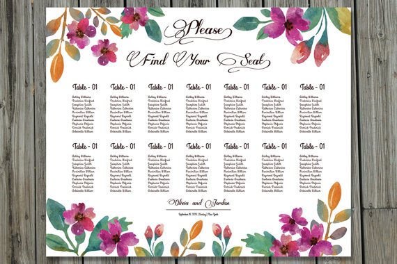 Wedding Seating Chart Poster Template By Weddingtemplatestock