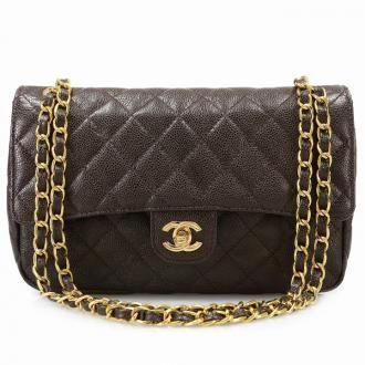 162b2c911549 Authentic Chanel Brown Caviar Medium Classic Double Flap Bag | OA ...