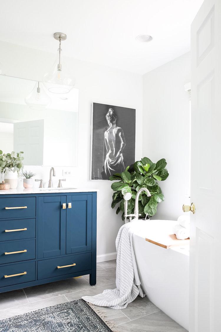 Beautiful Spa Bathroom With Navy Blue Vanity Spa Master Bathroom Blue Vanity Stylish Bathroom