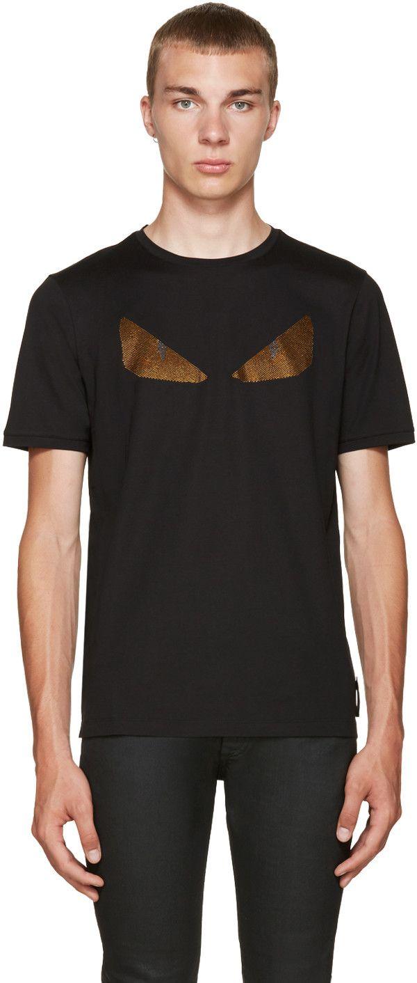 72af3ec4e941 FENDI Black Crystal Monster Eyes T-Shirt.  fendi  cloth  t-shirt ...