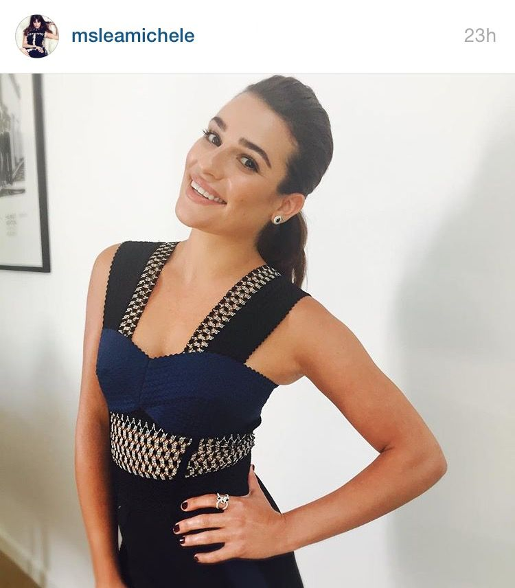Lea Michele's look for the Ellen Show aired on 9/22/15. Wearing Jonathan Simkhai dress