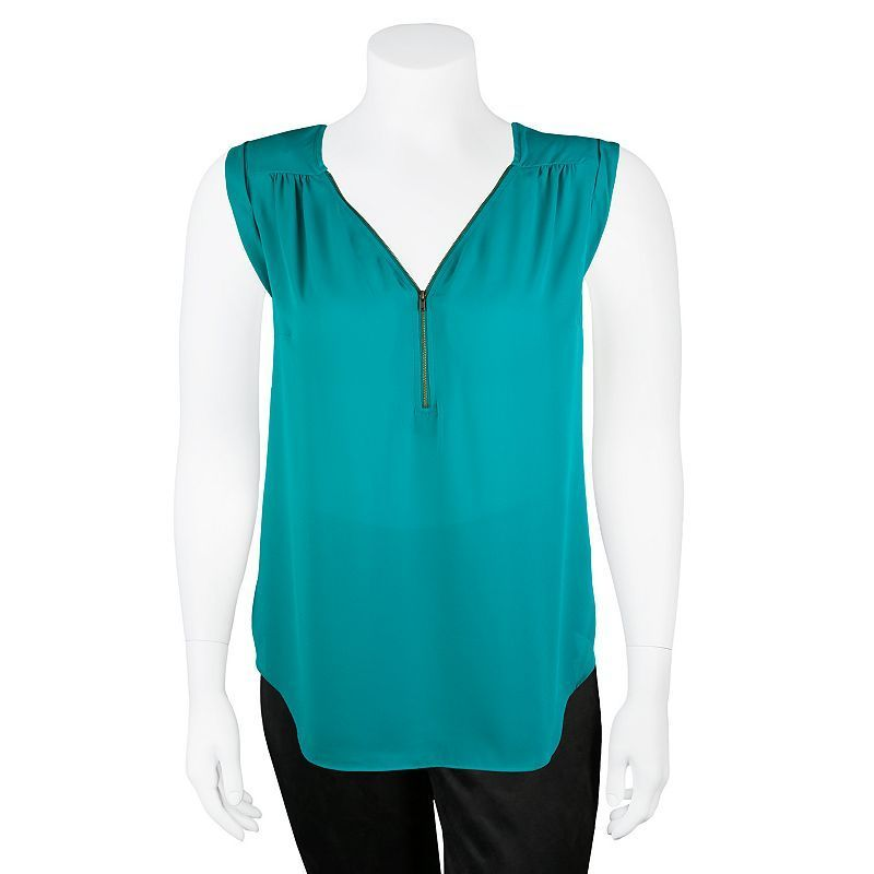 Juniors' Plus Size IZ Byer California Zipper V-Neck Tank Top Teal