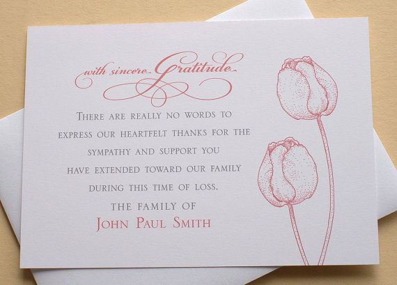 Funeral Thank You Cards With 2 Burgundy Or 2 Purple Tulips Flat