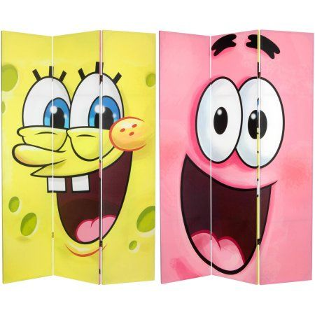 6' Tall Double Sided SpongeBob Canvas Room Divider, Multicolor