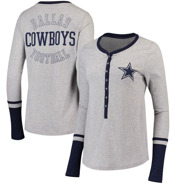 promo code cce67 c4173 Women's Gray Dallas Cowboys Jackie Henley Long Sleeve T ...