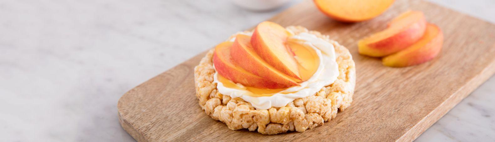 Honey peaches topped rice cake recipe rice cakes rice
