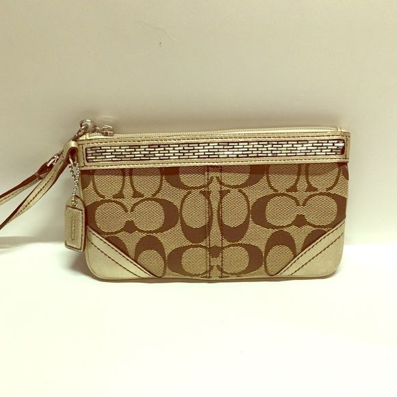 Coach Wallet/ Wristlet Coach wallet with wrist strap and sequin embellishment! Great to carry alone or in a larger purse Coach Bags Clutches & Wristlets