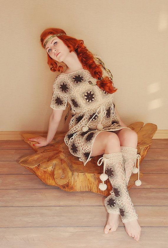 Dress leg warmers crochet lace granny square boho gypsy ...