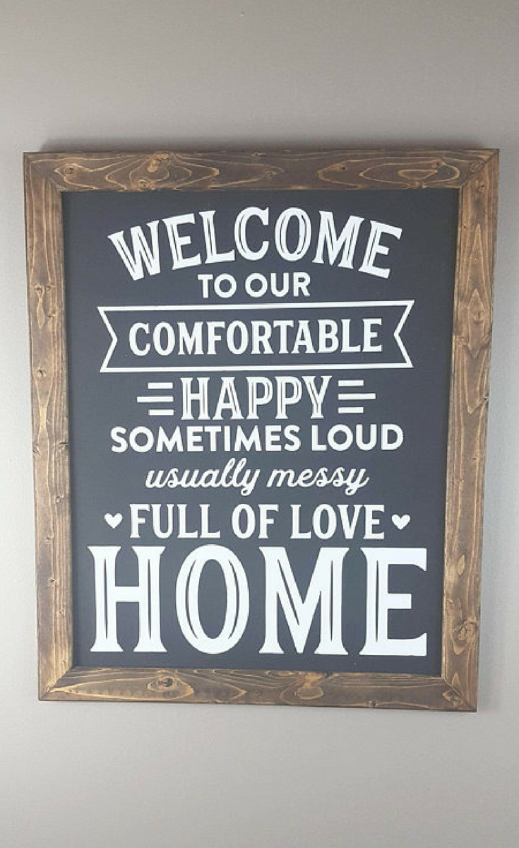 Perfect Sign For Homes With Kids Welcome To Our Home Farmhouse Style Sign Wood Sign Farmhouse Decor Rustic Decor Custom Sign Home Signs Decor Home Decor