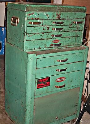 vintage craftsman two piece rolling tool cabinet | retro turquoise
