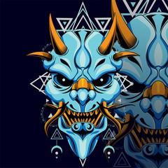 Pin By Mohamed Tedjine On Manga Oni Mask Geometric Oni