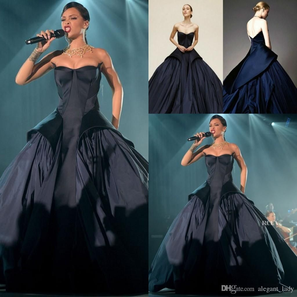 Rihanna in zac pose Navy Blue Evening Dress High Quality Backless ...