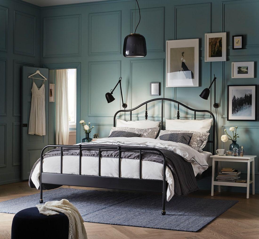 Schlafzimmer Ideen Inspirationen In 2020 Traditionelles Schlafzimmer Bettgestell Ikea Metallbett Schwarz