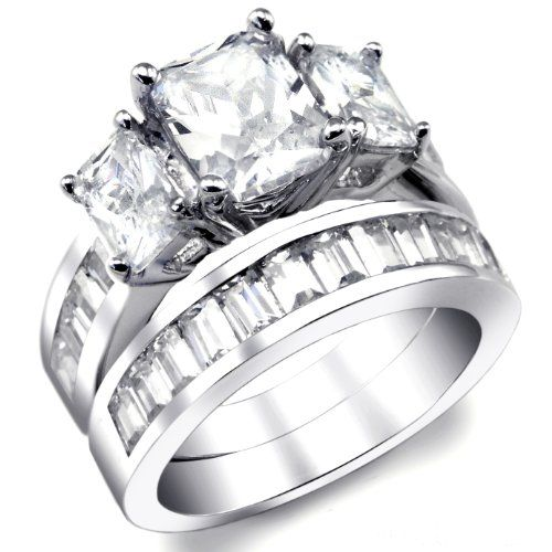 2 Carat Radiant Cut Cubic Zirconia CZ Sterling Silver Womens Engagement Ring Set Sizes 4 to 11