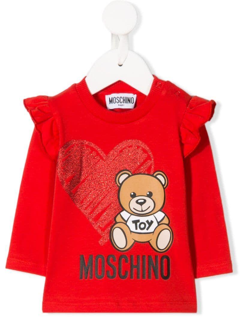 Moschino Kids Womens Long Sleeve Teddy Bear Heart Logo T-Shirt Big Kids