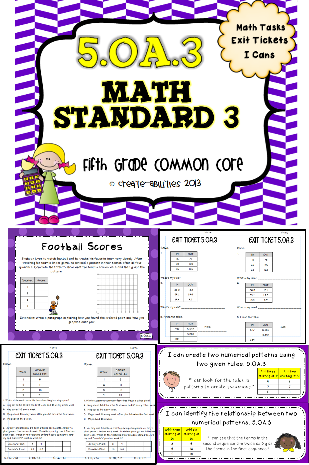 Patterns and Graphing Math Tasks and Exit Tickets | Grades 3