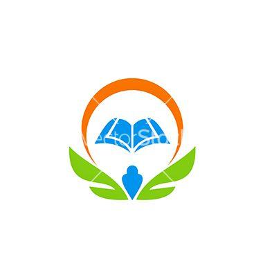 education book wing school learn logo on vectorstock