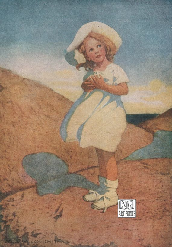 A fine day at the beach! 1920s Childrens Print, The Wind's Song Vintage-JW Smith by NGArtPrints http://etsy.me/1qP2nzz via @Etsy, #Etsy