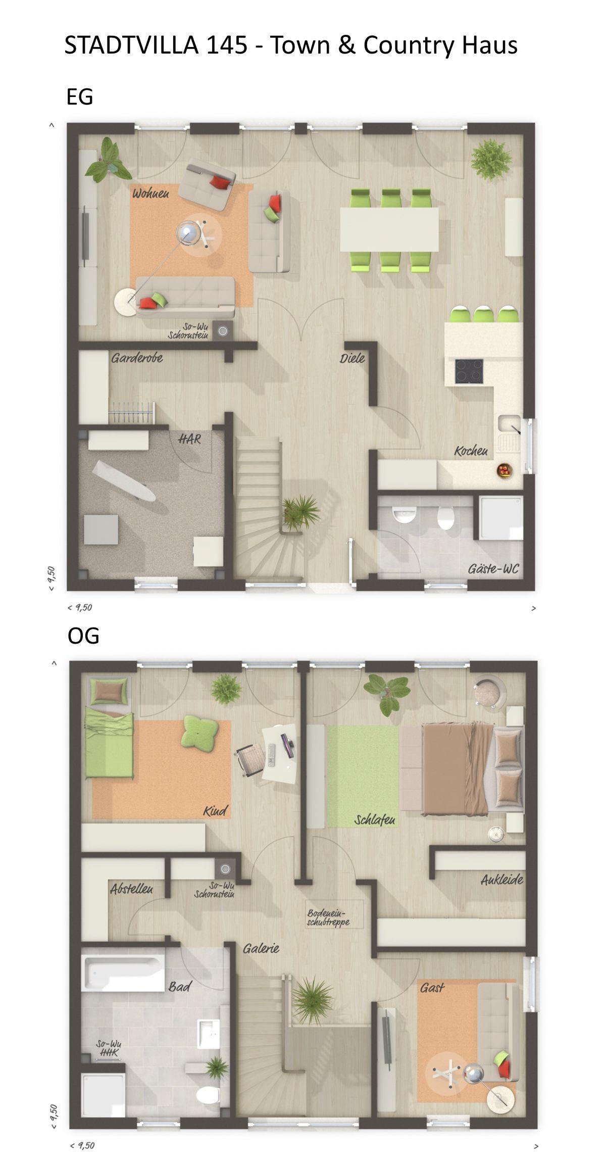 Stadtvilla Grundriss mit 144 m² Wohnfläche 4 Zimmer, 2