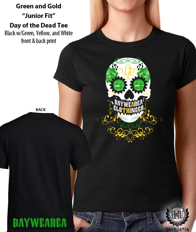 4dfdbf0ac Oakland A's Green and Gold Day of the Dead Sugar Skull women's t-shirt