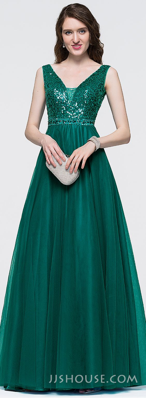 A-Line/Princess V-neck Floor-Length Tulle Prom Dresses With Beading ...
