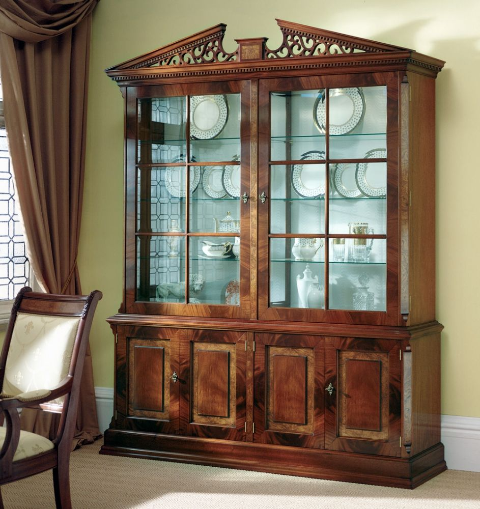 Mahogany Display Cabinet With Gl Shelving And Cupboard Storage Two Large Bevelled Six Pane Top Doors Four Fielded Style Panelled Bottom