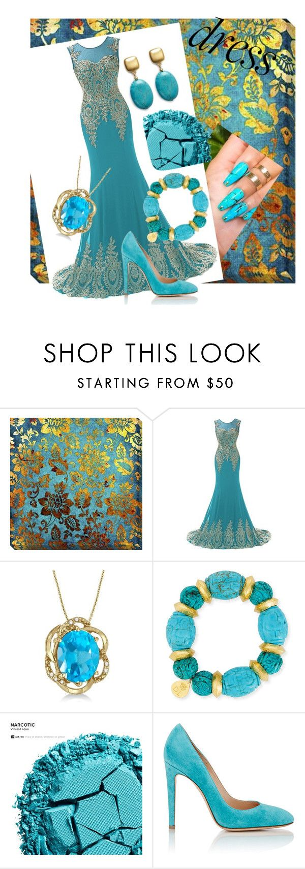 """Blue and gold galore"" by ashleyhuang68 ❤ liked on Polyvore featuring Allurez, Devon Leigh, Urban Decay, Gianvito Rossi and Kenneth Jay Lane"