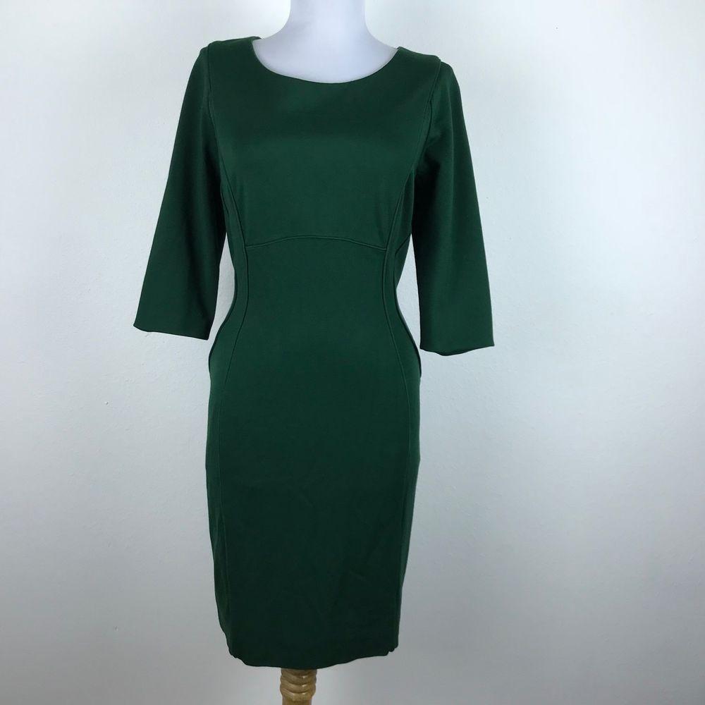 d0a2243232 Antonio Melani Dress Size 10 Solid Green Sheath 3 4 Sleeve Career Work  Womens  AntonioMelani  SheathDress  Work