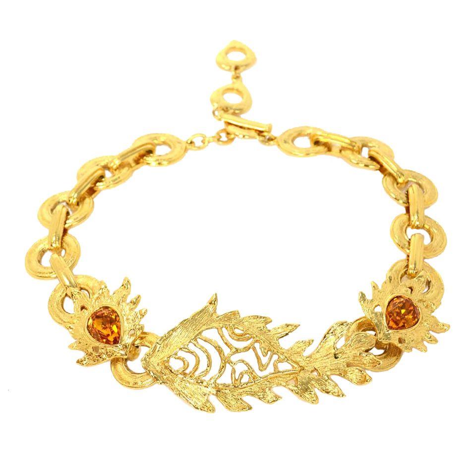 Ysl yves saint laurent goldtone fish pendant choker necklace w