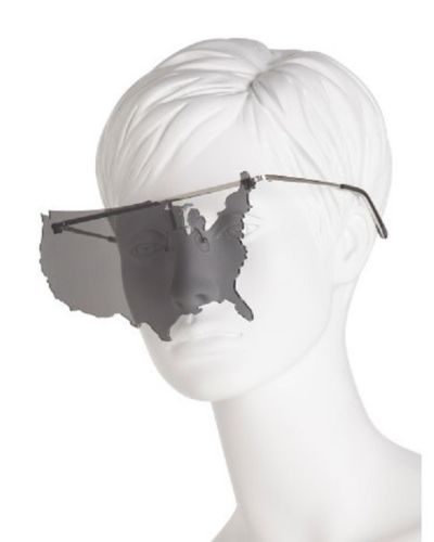 e14f49ea3d1c New-Jeremy-Scott-x-Linda-farrow-USA-Map-Sunglasses -Fashion-Accessory-Silver-Grey
