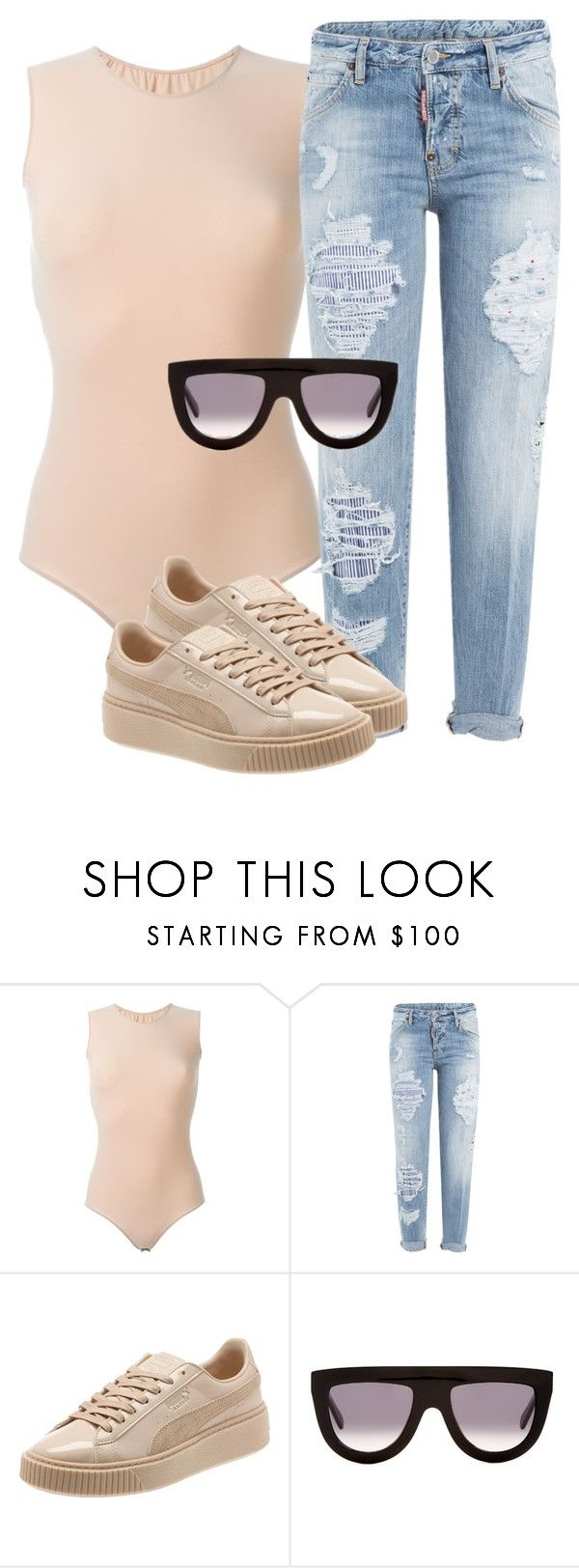 """Untitled #790"" by antonela-475 ❤ liked on Polyvore featuring Maison Margiela, Dsquared2, Puma and CÉLINE"
