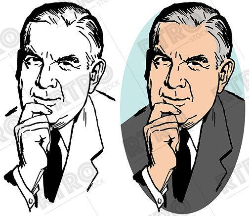 A Pensive Older Businessman Thinking Vintage Retro Clip Art Clipart Stock Images Free Pensive Art Clipart