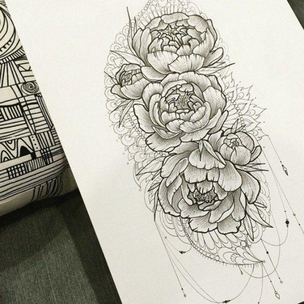 Картинки по запросу тату на бедре пионы   Татуировки для ...