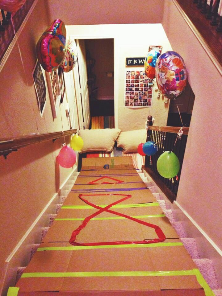 Birthday Morning Stairs Slide Surprise When We Get A House With Stairs Im So Doing This For My Birthday Morning Kids Birthday Morning Birthday Surprise Kids