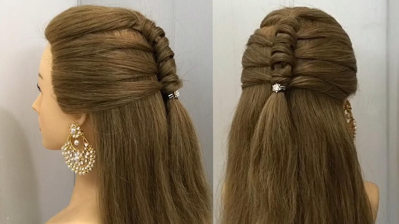 Beautiful Half Up Hairstyle For Wedding Or Party Easy Hairstyles Open Hair Style Video In 2020 Open Hairstyles Bride Hairstyles Hair Styles