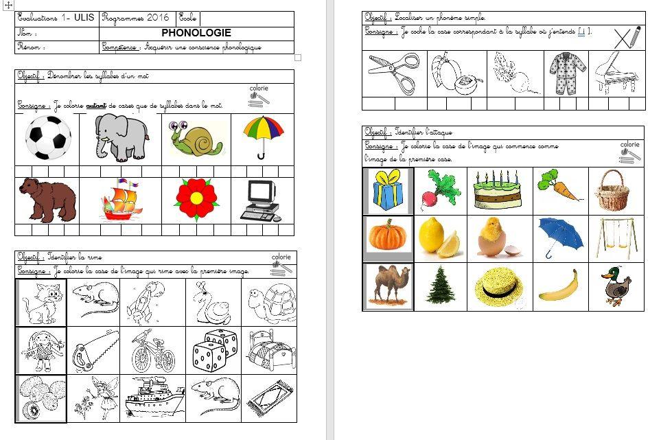 Evaluations- Niveau GS   Evaluation, Ulis école et Maternelle