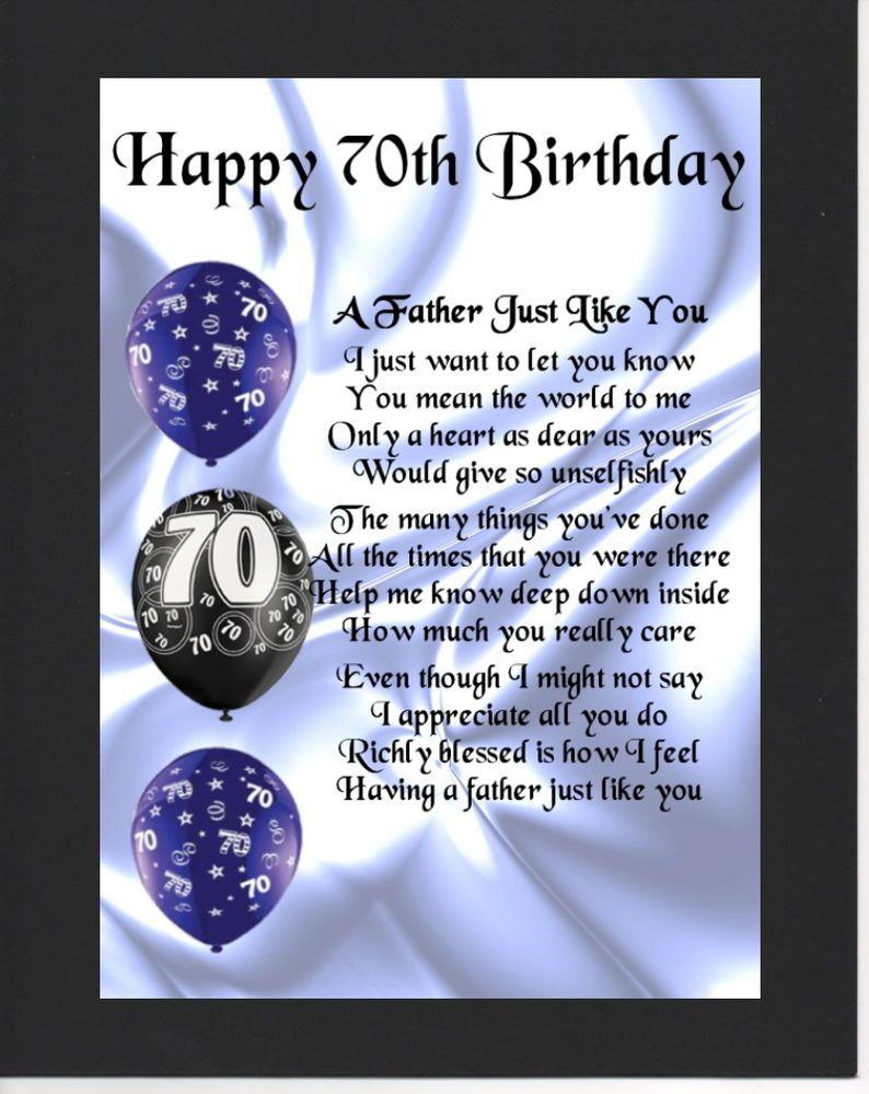 Personalised Mounted Poem Print 70th Birthday Father Poem Happy Birthday Free 70th Birthday Card 70th Birthday